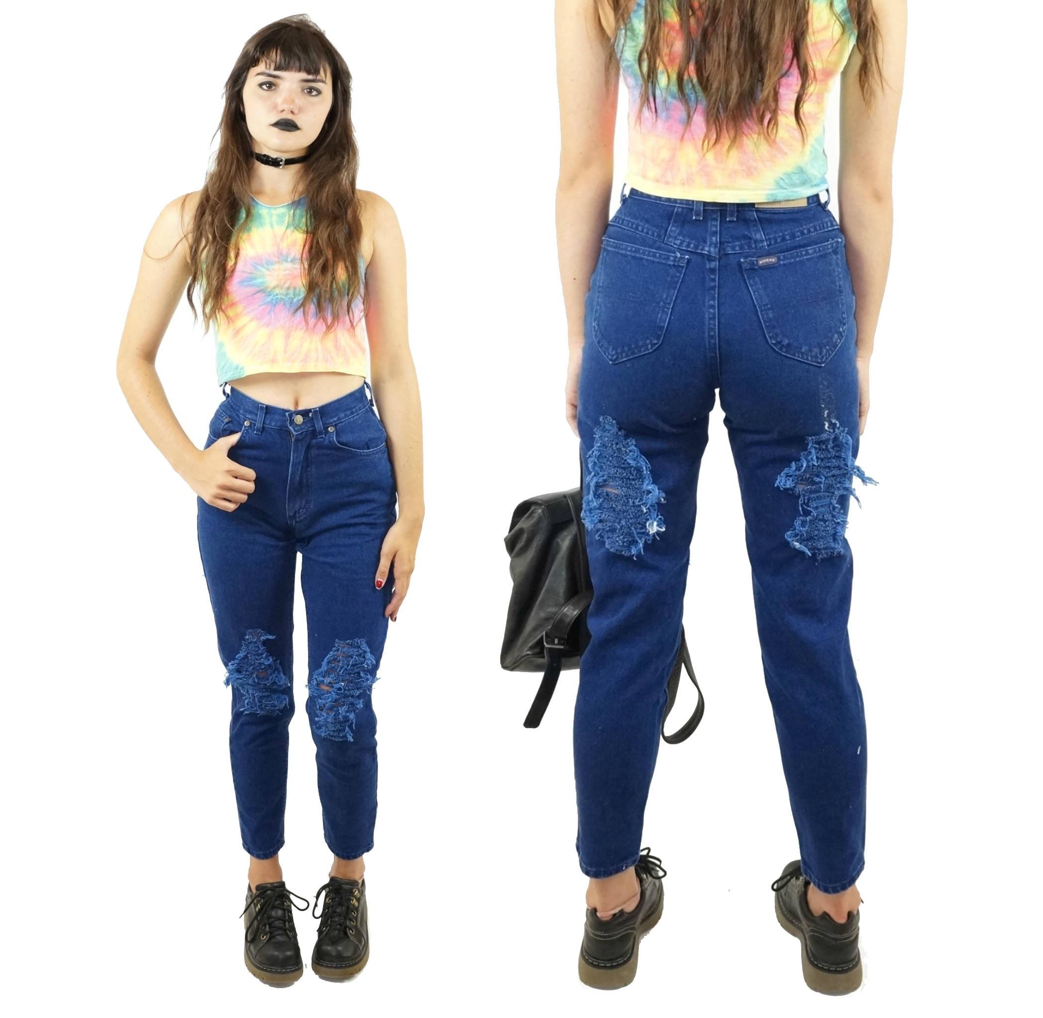 Dark Wash Riders 90s Mom Jeans Vintage Grunge Jeans