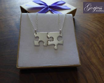 Two Edge Puzzle Pieces Silver Pendant Necklaces