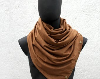 Mens and Womens Infinity scarf,metallic snaps, Vegan cowl, hoodie, caramel FAUX SUEDE, cowboy style, super soft and cozy.gift for men, women