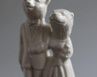 Wedding Cake Topper  Bear Groom and Otter Bride