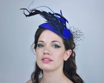 Cobalt Blue Feather Fascinator