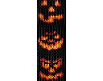 Halloween Jack O Lanterns Peyote Bead Pattern, Bracelet Pattern, Bookmark Seed Beading Pattern Delica Size 11 Beads - PDF Instant Download