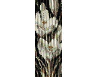 Crocus Flowers Peyote Bead Pattern, Bracelet Cuff, Bookmark, Seed Beading Pattern Miyuki Delica Size 11 Beads - PDF Instant Download