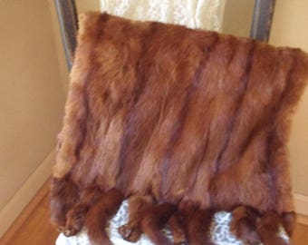 Mink Muff with 10 Intact Tails and Feet, Brown Mink Hand Warmer