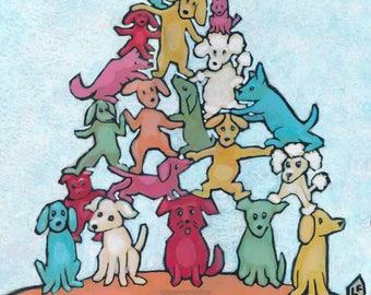 Dogpile, Fine Giclee Print by artist Lisa Firke