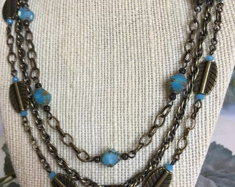 Back to the Beach aqua opalite Czech bicone beads and brass multistrand necklace