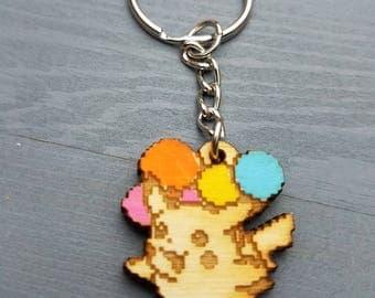 Flying Pikachu Pokemon Keychain | Laser Cut Jewelry | Wood Accessories | Pokemon Keychain
