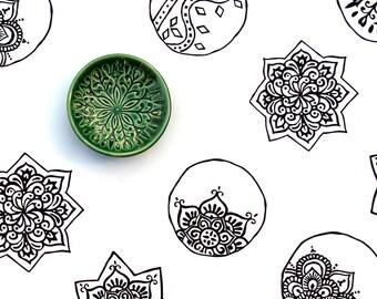 Trinket Dish - Emerald Ring Holder - Handmade Jewelry Bowl - Scandi Decor - Scandinavian Folk Pattern - Jewelry Storage - Folk Art Dish