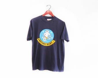 vintage t shirt / US Navy t shirt / F14 Tomcat shirt / 1970s Anytime Baby F14 Tomcat Navy t shirt Small