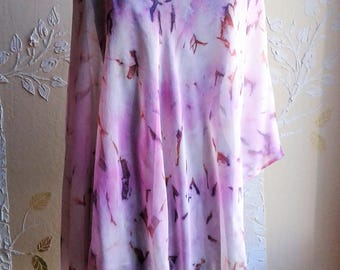 Asymmetrical Hand Painted Silk Chiffon Scarf Poncho, Wrap, Scarf in Soft Orchid, Burnt Umber, Blush