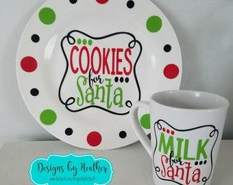 Christmas Plate -  Cookies for Santa Plate Set,  Santa Plate Set, Holiday Plate Set,  Cookies for Santa, Milk for Santa