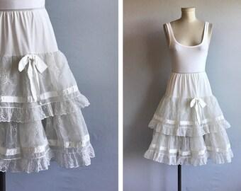 Vintage 50s Crinoline / 1950s White Eyelet Lace Ruffled Petticoat Slip
