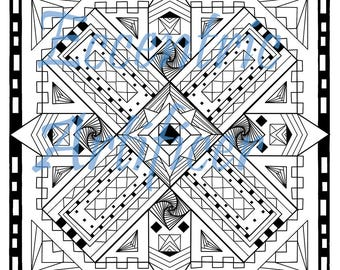 Square Zendala-inspired Coloring Page