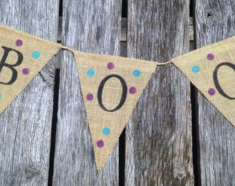 Boo Burlap Banner, Halloween Banner, Party Banner, Halloween Decorations,  Polka Dot Banner, Burlap Pennant Flags, Halloween Photo Prop