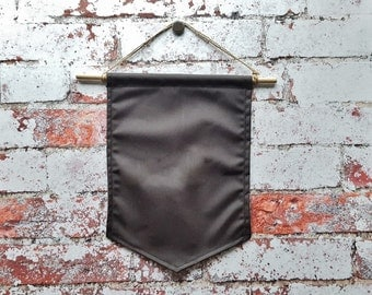 Pin Banner Grey, Patch Banner waxed cotton pennant pin collector patch kit pin storage banner waxed cotton wall hanging pin display patch