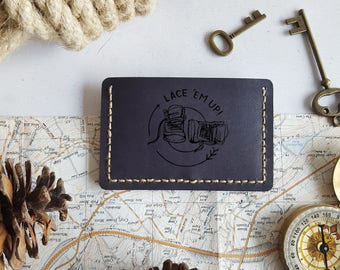 Hiking Card Wallet, Personalised leather card holder, hand stitched wallet, fathers day gift, mountaineering boyfriend card holder