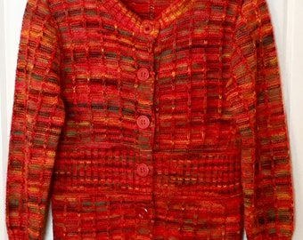 Vintage kids sweater button down cardigan knitted