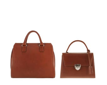 Leather top handle bag tote PEGGY, JASMIN // brown (Italian calf skin) - FREE shipping, unique bag