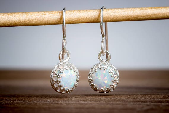 White Opal Gemstone Dangle Drop Earrings in Sterling Silver