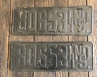 Antique Matching License Plates - 2 MatchingAntique Metal License Plates - 1919 Maryland License Plates - Black License Plates