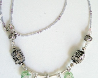 Necklace  Sterling Silver 925&  Patterned SILVER 980 Beads  Rose Quartz Beads Green Lucite Flower caps Pink Glass Beads