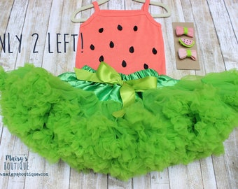 12 Piece Set Headbands and Clips/ Summer Watermelon Baby Girl Outfit/ Fluffy Skirt/ Photo Prop/ First Birthday/ Photo Shoot/ Baby Outfit