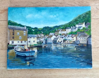 1960s Painting of an English Harbour and Boats Signed F Blake Original Art Seascape Sea Home Decor