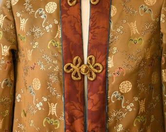Michael-John chinese silk brocade jacket with frog closures