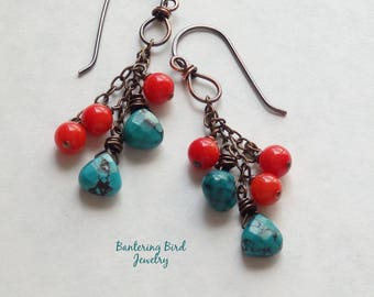 Coral and Turquoise Cluster Earrings, Southwestern Rustic Copper, Cowgirl Jewelry