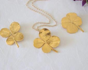SALE Four Leaf Clover Necklace, Yellow 4 Leaf Clover, Gold 4 Leaf Clover, Real Clover Pendant, SALE345
