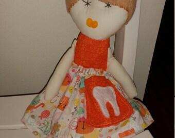 Tooth Fairy Rag Doll OOAK Handmade 14 inches Kitty Cat Print Skirt