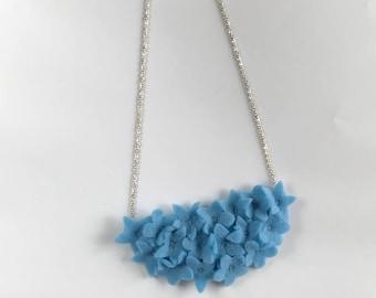 Felt Flower Necklace - Blue Flower Necklace - Forgetmenot Flower