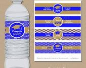 Personalized Graduation Water Bottle Labels, High School Graduation Party Decorations, College Graduation Favors, Printable Party Ideas G1