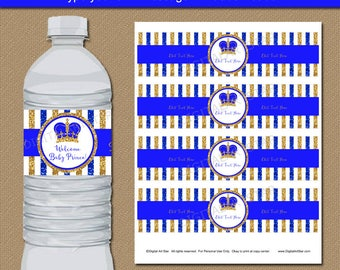 Good Royal Baby Shower Party Decorations, Prince Baby Shower Water Bottle  Labels, Royal Prince Water