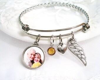 Signature Charm Memory Bracelet Grandma Memory Loss of Dad Photo Charm Child Memory Photo Charm Bracelet Grandpa Loss Sympathy Gift Mom Loss