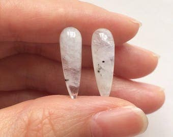 Rainbow Moonstone Smooth Spike Icicle Drops 6x20 mm One pair G6053