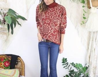 Vintage Boho Turtleneck Sweater, Patterned knit sweater, XS Small Medium 3787