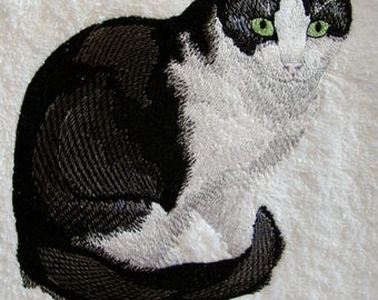Cat towel Black and White Cat hand towel machine embroidered