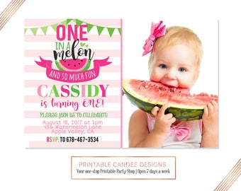 Watermelon 1st Birthday Invitation, Watermelon Birthday, Summer Birthday,  Picnic Party, DIY Custom Printable