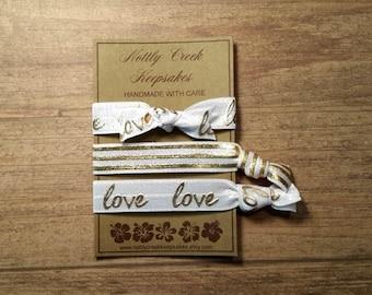 Hair Ties White & Gold Elastic / Stripe Hair Ties / No-Crease Hair Tie/Set of 3 Hair Ties/ FOE Elastic / Ponytail Holder