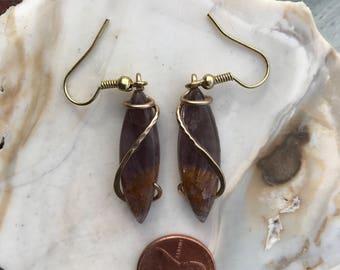 Cacoxenite Gold Wrapped Earrings