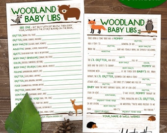 Woodland Animals Baby Shower Game Mad Lib - Printable Download