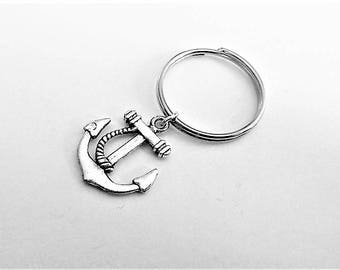 Anchor keychain, anchor charm, nautical keychain, personalized keychain, customized, friendship gift for her, nautical gift for him