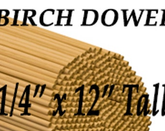 """25- 1/4"""" x 12"""" Tall Wood Dowels Made of Birch, Cake Insert, Jewelry Making, Mustache Holder Prop, Flag Pole, Crafting Ideas, Photo Prop"""