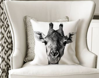 Giraffe Throw Pillow - African Home Decor - Square Pillow 18x18 - Black and White