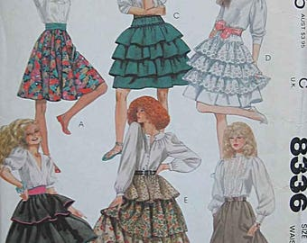 McCall's 8336 Misses Tiered Pull On Skirts Sewing Pattern, Size 10, UNCUT