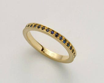 Sapphire Band, Sapphire Stack Ring, Blue Saphire Ring, Saphire Wedding Band, Eternity Ring 18k Gold, Sapphire Wedding Ring, Infinity Ring