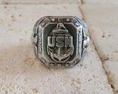 United States Navy Ring, Navy Ring, Sterling Silver United States Navy Ring, Heavy USN Ring, Navy Signet Ring, Sterling Navy Signet Ring