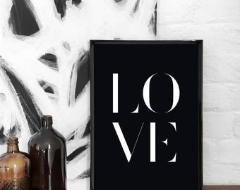 Love A3 Art Print, Black & White Poster