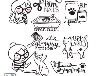 Planner Girl - Pet Care (Cat) Stamp Clipart - Planner Stickers, scrapbook , card design, invitations, paper crafts, INSTANT DOWNLOAD